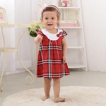 Été 100% Coton Dépouillé Genou-Longueur Robes Plaid Arc Bébé Fille Dress Kawaii Home Wear Filles Vêtements Pour Peu filles