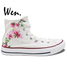 Wen Original Sneakers Design Custom Hand Painted Shoes Pink Flowers Floral Women Men's High Top White Canvas Sneakers