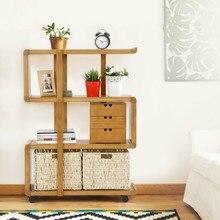 Твердой древесины дома хранения съемная полка напольная стойка с колесами гостиная твердой древесины полка книжный шкаф