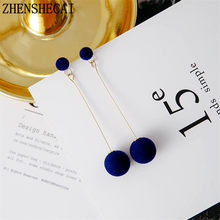 Fashion Red Black Plush Ball Drop Earrings For Women Korea personality Round Long Tassel Earrings Statement Jewelry Gift e0371(China)