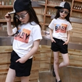 3-18Y, 2016 New Summer Big STAR Style Print Mother and Daughter Fitted Girls T-shirt Children Short Shirt Kids Cotton T-shirt
