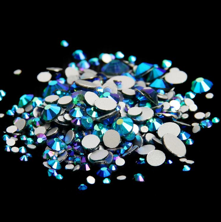 Изумрудные AB ss3,ss4,ss5,ss6,ss8,ss10,ss16,ss20,ss30 плоский кристалл без горячей фиксации клей для дизайна ногтей на Стразы Украшения
