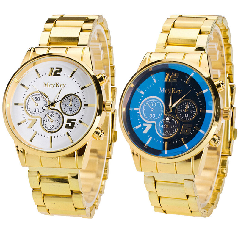 watches men gold color promotion shop for promotional watches new fashion watch gold color mens watches casual top brand luxury hot selling men watch steel dress watches whole