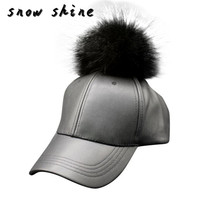 2017 new New Men Women Raccoon Fur Ball Hip Hop Fashion Casual Baseball Cap free shipping