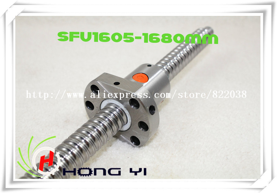 Free Shipping 1pcs Ball screw SFU1605 - L1680mm+ 1pcs Ballscrew Ball nut for CNC and BK/BF12 standard processing