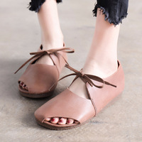2018 Vintage Art Handmade Shoes Microfiber Leather Flats Women Shoes Shallow Mouth Casual Fashion Women Shoes