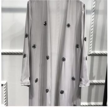 Fashion Muslim Embroidery Cardigan Abaya Kimono Long Robe Gowns Tunic Jubah Katfan Middle East Ramadan Arab Islamic Clothing muslim open abaya dress elegant cotten linen lace cardigan long robe kimono jubah ramadan arabic turkish islamic prayer clothing