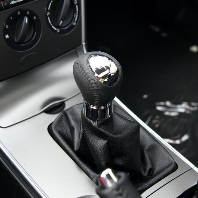 6 Speed Leather Chrome Manual Gear Shift Knob For Mazda 6