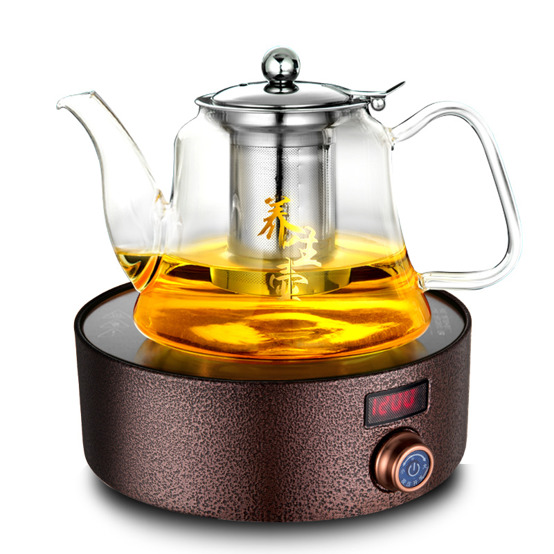 Hot Plates Tea furnace electric ceramic mini small iron pot boiling tea machine intelligent stove NEW electric pottery furnace tea pot 4 file mute mini knob control tea hot water boiler black microlite panel stove boiling machine