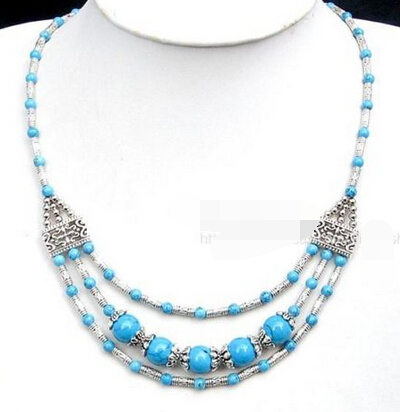 shitou 001416 Wholesale Turquoise Coral Agate Tibetan Silver Necklace can choose