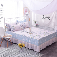 Elegant Pink+Lilac Printing Korean Bed Skirt Set Bedding Set Thicken Bed Cover Sheets Bed Cotton Bedspread 3Pcs Pillowcase Soft