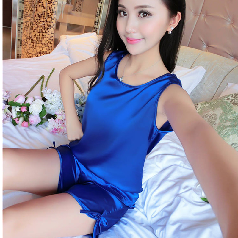 2018 Sexy Women Real Silk Sleeveless Short Pajama Sets Sell Well Summer Style Luxury Sleepwear  Lingerie Women Nightwear AB004