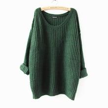 Women Winter Sweater Knitting Patterns Sweater O-Neck Long Sleeve Loose Sweater Wool Warm Pullovers Sweater Women Tops Free Size