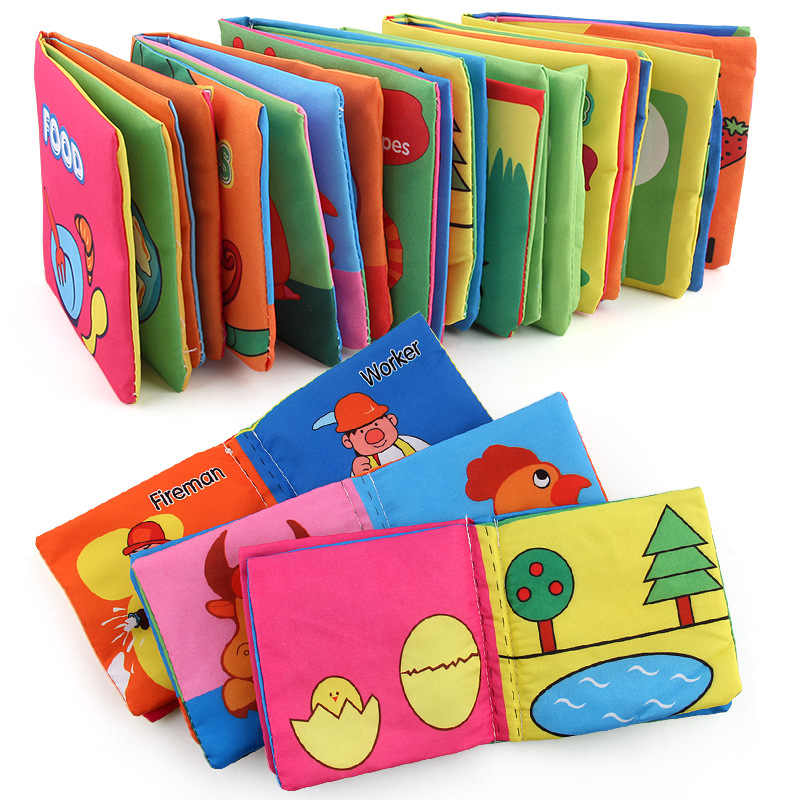 Newborn Baby Toys Rattles Soft Cloth Books Cartoon Animals Fruit Plant Cognitive Educational Kids Sound Washable Cloth Book Toys