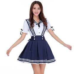 Японская школьная форма для девочек, милая одежда для студентов, большие размеры, темно-синяя юбка на бретелях + белая рубашка + галстук, 3