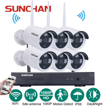 SUNCHAN 8Channel 1080P(1920x1080) HD Wireless Video Security System1080P 6PCS 2.0MP Wireless Waterproof Bullet Array LED Cameras(China)