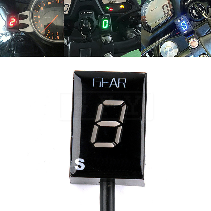 Motorcycle LCD Electronics 6 Speed 1 - 6 Level Gear Indicator Digital Gear Meter For Suzuki SV1000 SV650 SV 650 1000 V-strom FI motorcycle clutch wire adjustment cable cnc aluminum m8 m10 for suzuki gsr 600 750 sv 650 1000 sv1000 dl650 v strom 650 1000