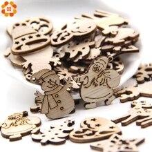 50PCS DIY Natural Wooden Chip Christmas Tree Hanging Ornaments Pendant Kids Gifts Snowman Shape Xmas Decorations