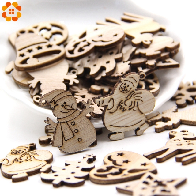 50PCS DIY Natural Wooden Chip Christmas Tree Hanging Ornaments Pendant Kids Gifts Snowman Tree Shape Xmas Ornaments Decorations