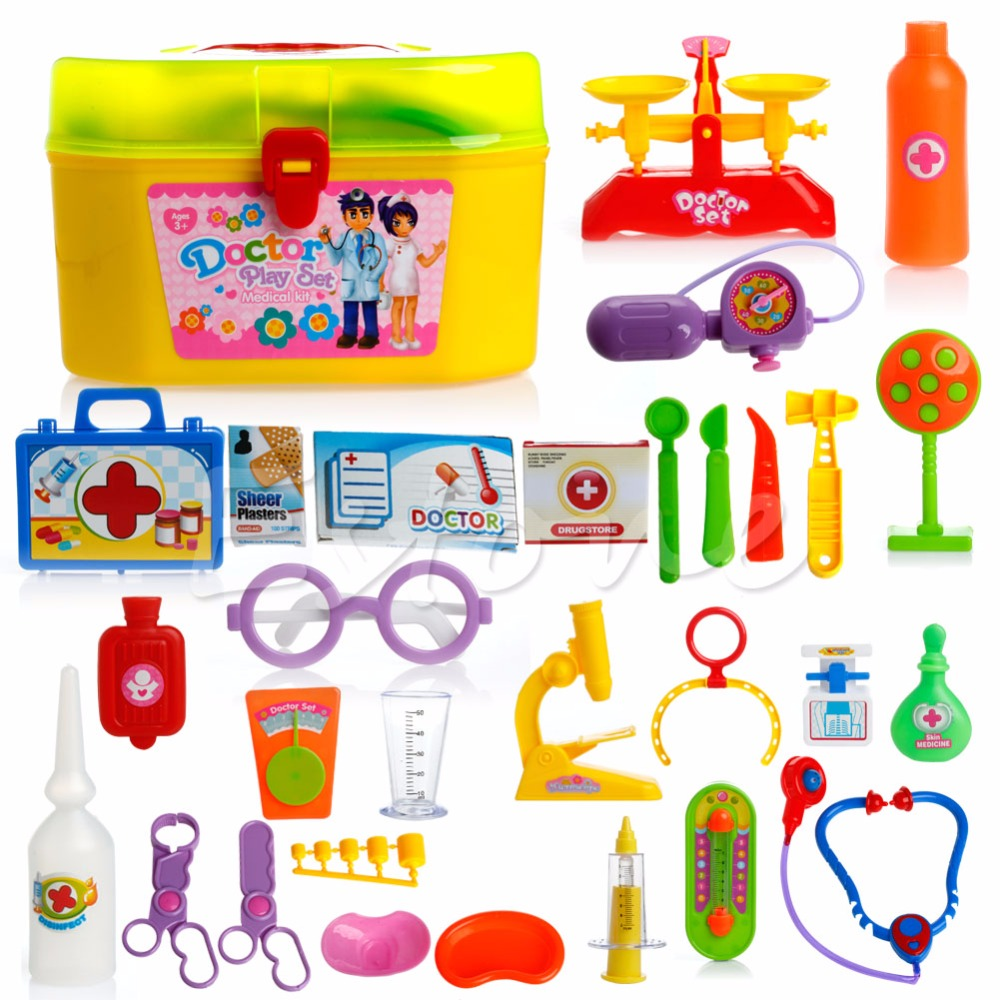 Children Like Interesting 30PCS Kids Baby Doctor Medical Play Carry Set Case Education Role Play Toy Kit blue like play dough