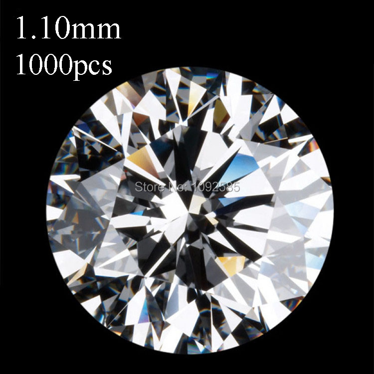 0cfd3dc6b6a En gros 1000 pcs lot livraison gratuite 1.10mm AAA Cubique Zircone blanc  ronde CZ pierre de taille haute résistance à la température