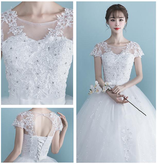Women Wedding Dress Plus Size High Waist One Shoulder Half And Short Sleeve Bride Dresses