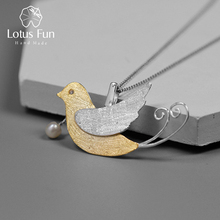 Lotus Fun Real 925 Sterling Silver Handmade Fine Jewelry Creative Flying Birds with Fruits Pendant without Necklace for Women