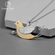 Lotus Spaß Echt 925 Sterling Silber Handgemachtes Feine Schmuck Kreative Fliegen Vögel mit Obst Anhänger ohne Halskette für Frauen