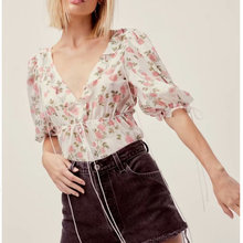 summer women blouse lace up v neck short sleeve button beach style floral print ladies tops blouses and shirts bow tie blusas цена 2017