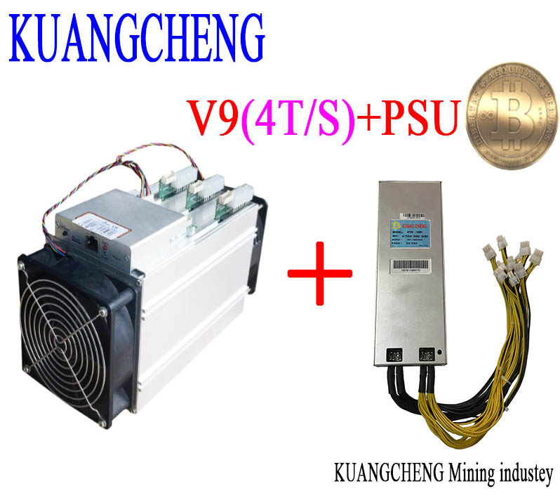 KUANGCHENG asic miner BITMAIN antminer V9 4TH/s (with PSU) Bitcoin Asic miner V9 Better than AntMiner S9 WhatsMiner M3 T9+ E9