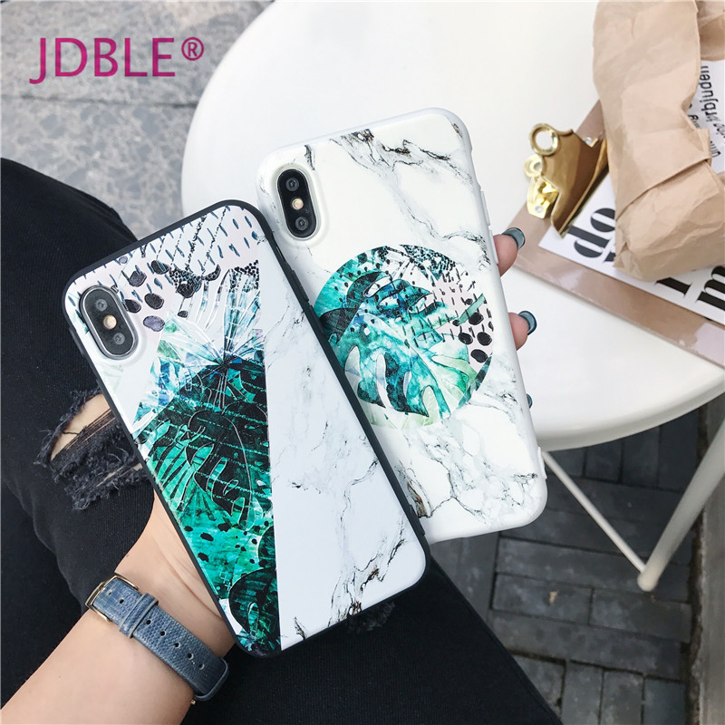 JDBLE New Marble Phone Case For iphone X 7 8 Banana leaf Marble Design Soft Fitted Cases Cover for iphone6 6S 7 8 Plus Capa