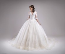 Fashionable Backless vestido de noiva 2018 lace sleeve Princess bridal Ball Gown Organza 2018 mother of the bride dresses
