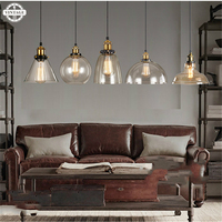 E27 Edison Bulb Vintage Transparent Glass Shade Pendant Lights Industrial Creative Pendant Lamp for Restaurant Bar Living Room