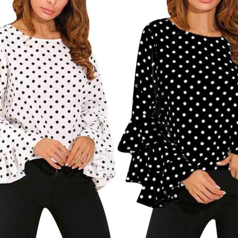 女性ポルカドットblusasシャツ2018春のファッションoネックロングスリーブブラウスfemininasカジュアルトップスプラスサイズ4xl 5xlシャツ