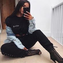 купить!  2019 ограниченный по времени топ мода средней длины молния джинсы мухи Mujer европейские повязки