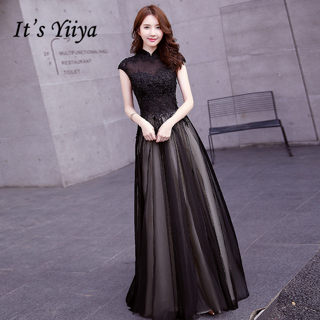 It s Yiiya 2017 Popular Black High Neck Evening Dress Flower Pattern  Embroidery Tulle Floor Length Formal Evening Gowns X178 cb944745e