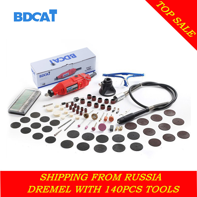 BDCAT 110 v/220 v Gravador Dremel Ferramenta Rotativa de Velocidade Variável Mini Broca Elétrica Ferramentas de Moagem Com 140 pc acessórios Para Ferramentas de poder