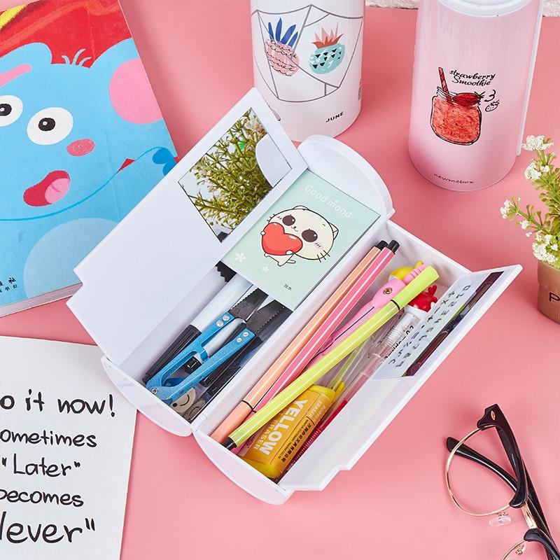 Pencil Case Calculator Solar Erasable Mirror Multifunction High Capacity Pen Boxes School Supplies Stationery Gift For Boy Girl