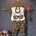 Menina roupas de verão 2016 novo bebê menina conjuntos de roupas top sem mangas gato dos desenhos animados impresso t shirt + estampa de leopardo calças 2-7 T