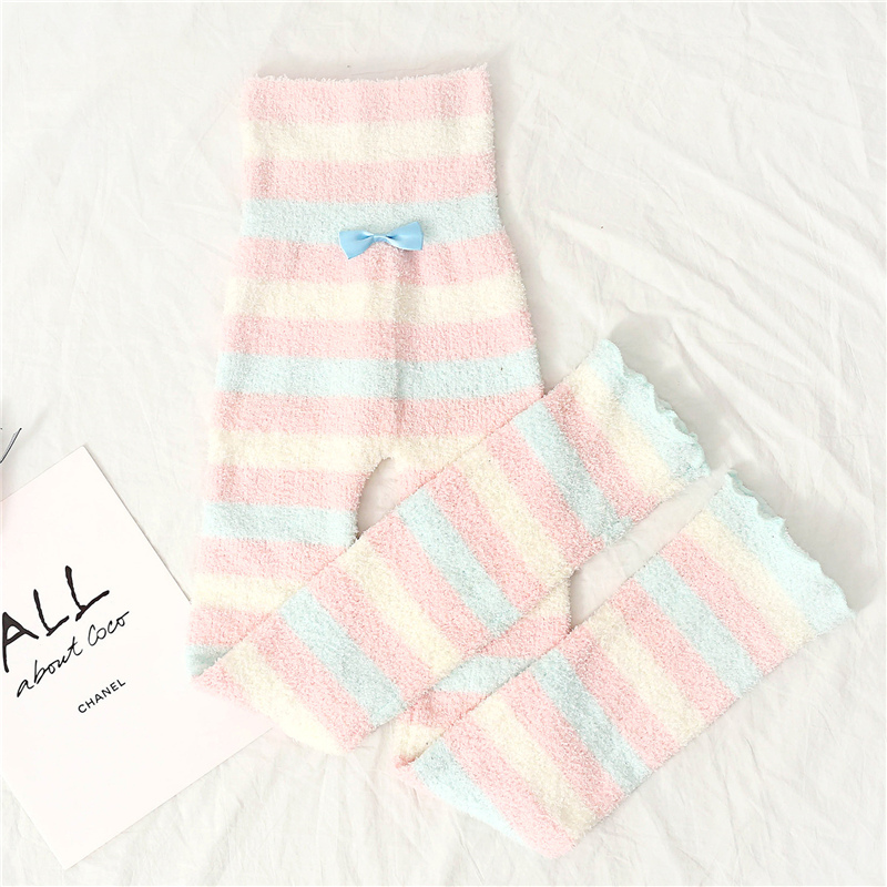 Japanese Plush Sleep Wear Pants Women Winter Soft Warm Cute Rainbow Striped Pink Flanne Homewear Knitted Casual Lounge Pajama