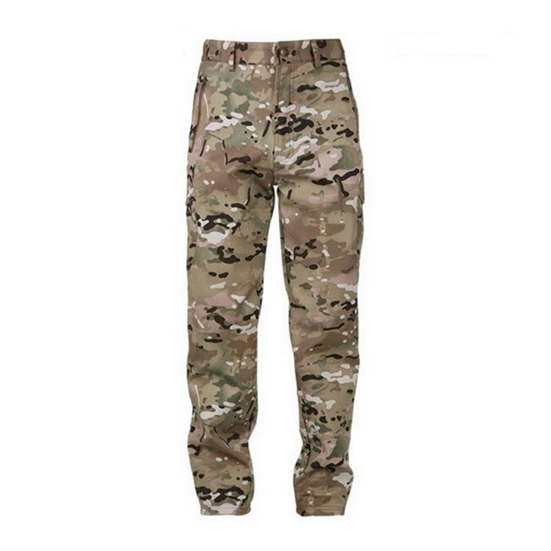 2017 Shark Skin Softshell Tactical Military Camouflage Pants Men Winter Army Waterproof Thermal Camo hunt Fleece Pants trousers