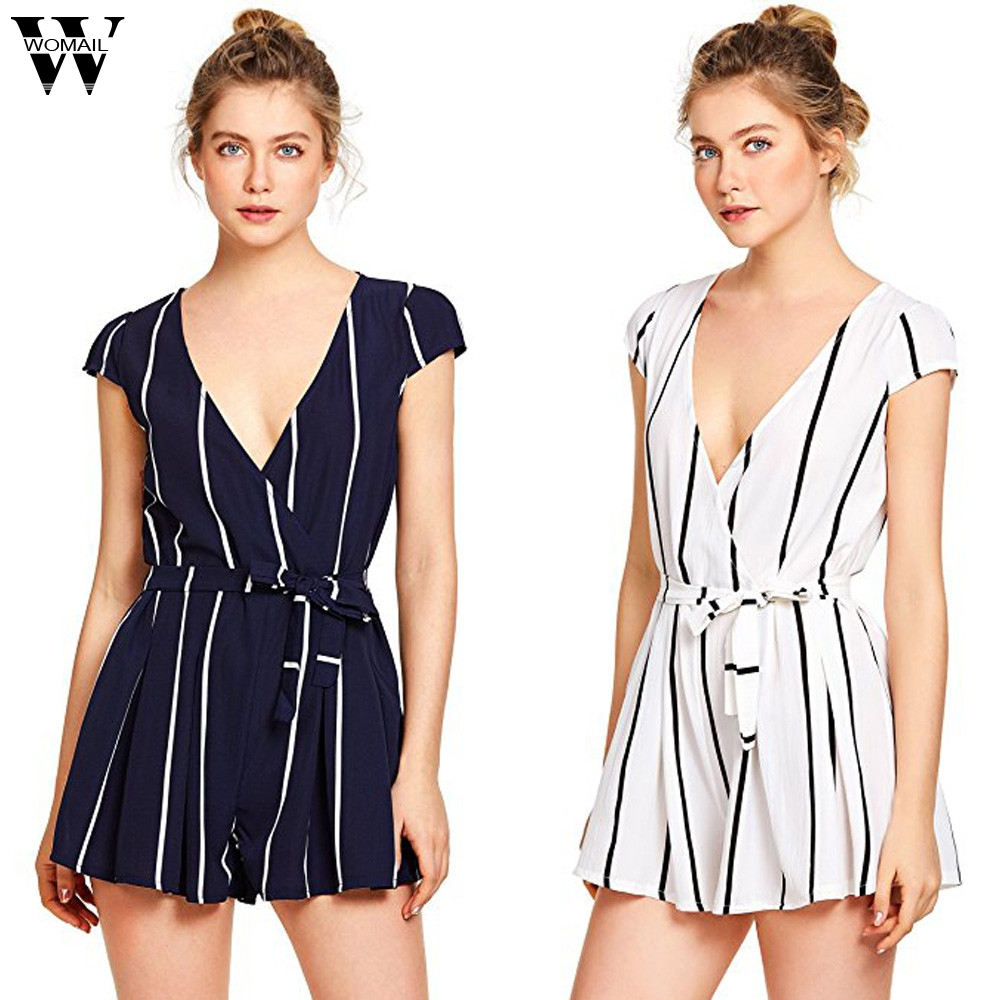 Womail bodysuit Women Summer Casual Vertical Striped   Jumpsuit   Playsuits Romper With Belt   Jumpsuit   overalls new 2019 dropship M4