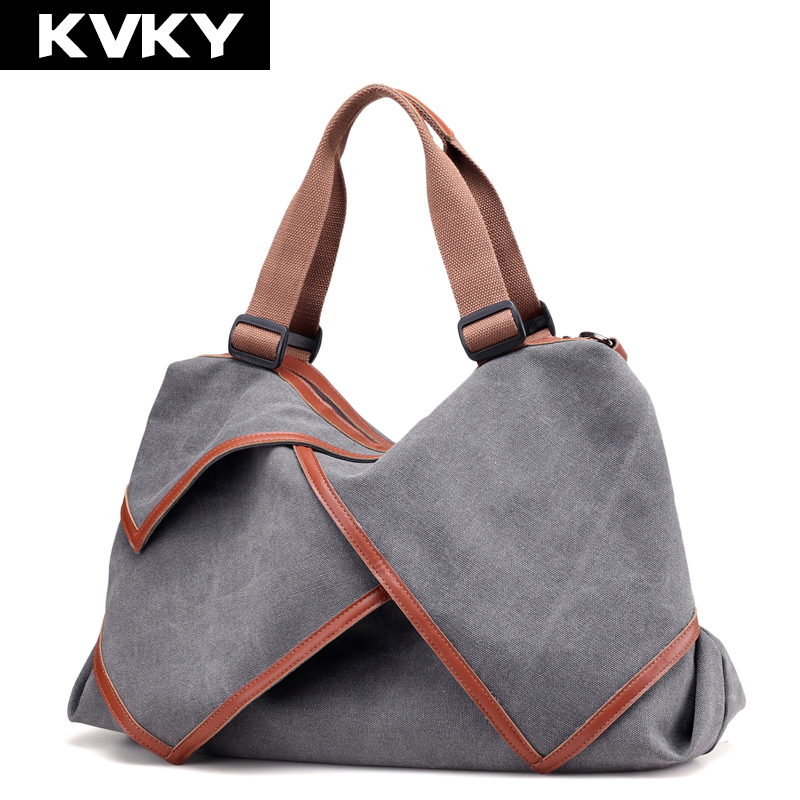 KVKY Brand Fashion Canvas Bag Women Handbag Patchwork Casual Ladies Hobos Tote Shoulder Bag Large Capacity Female Messenger Bags weiju new canvas women handbag large capacity casual tote bag women men shoulder bag messenger crossbody bags sac a main
