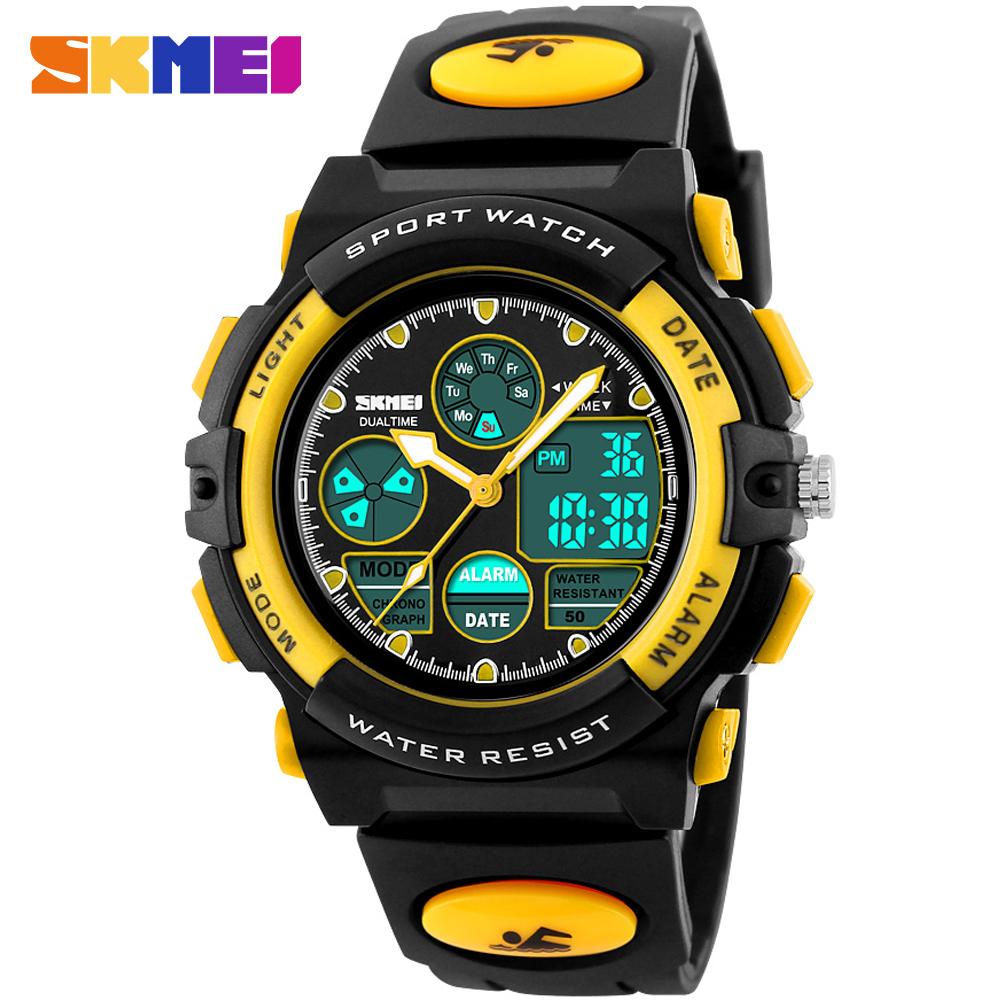 Prix pour SKMEI mode enfants sport montres casual marque enfants numérique montres led affichage montres 50 M étanche bleu en caoutchouc bande