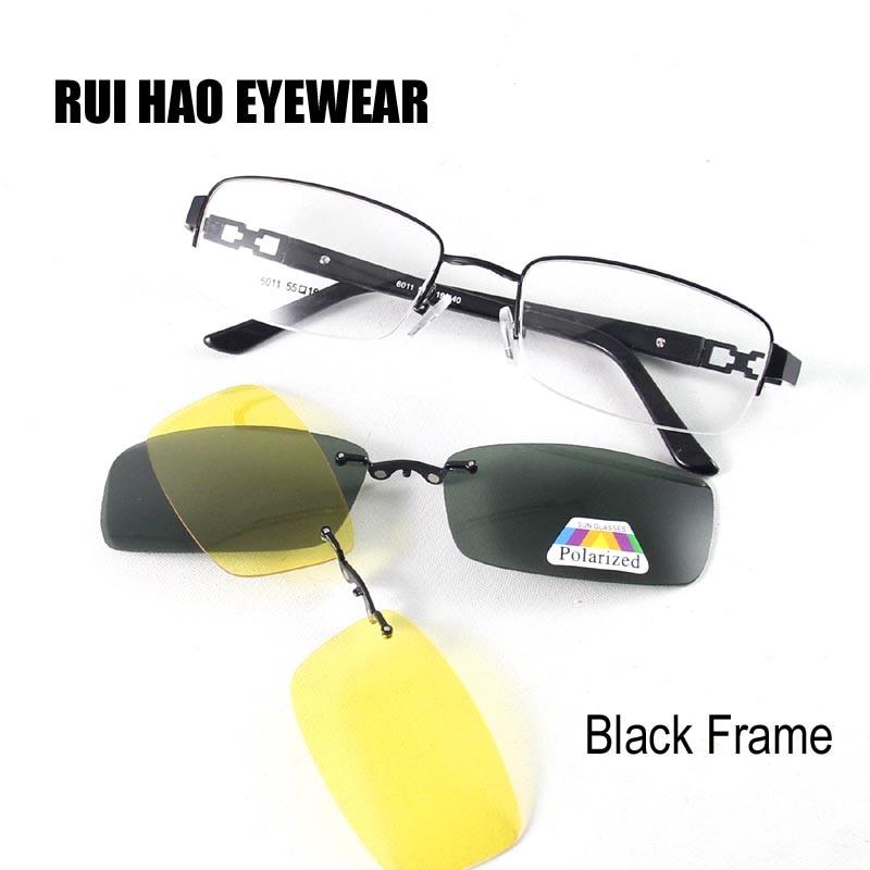 Marco de gafas Marco de anteojos Hombres Gafas graduadas Gafas Hombres Marcos 2PCS Clip en gafas de sol Gafas de visión nocturna