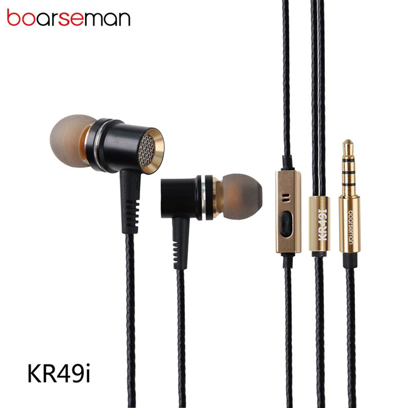 Original Boarseman KR49 In Ear Earphone DIY Fever HIFI Bass earpods Dynamic Earbuds for iphone 6s xiaomi redmi sports earphones original xiaomi mi hybrid earphone in ear 3 5mm earbuds piston pro with microphone wired control for samsung huawei p10 s8