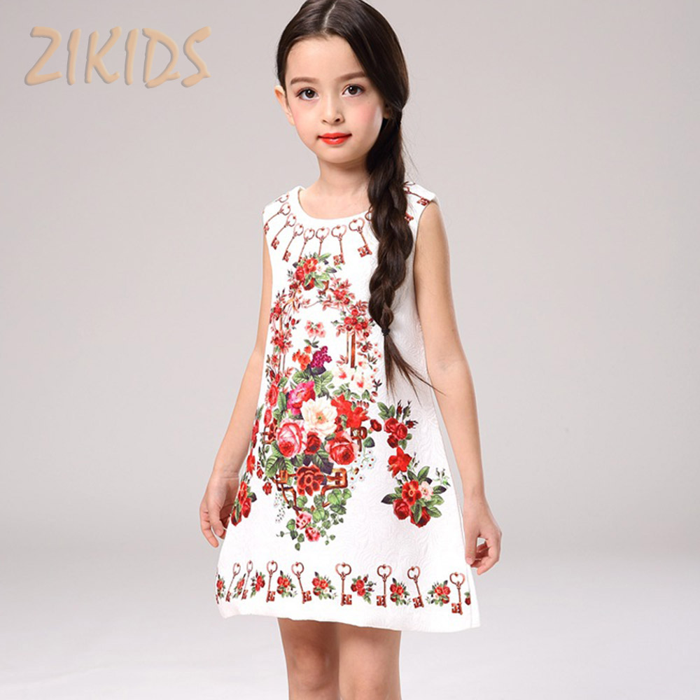 Fashion Flower Girl Dresses Summer Style 2017 Casual Solid Color Printing Dress Girl Clothes