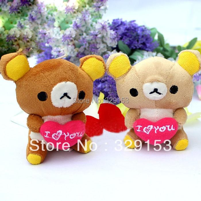 H-10cm 3 color mini plush doll love bear holding heart (dark brown,light brown,cream white ) 30pcs/lot