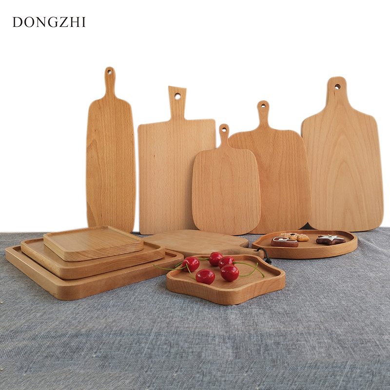 Wooden Cutting Board Kitchen Chopping Block Natural Wood Bread Pallet Cake Plate Serving Trays Fruit Pizza Tray Baking Tool