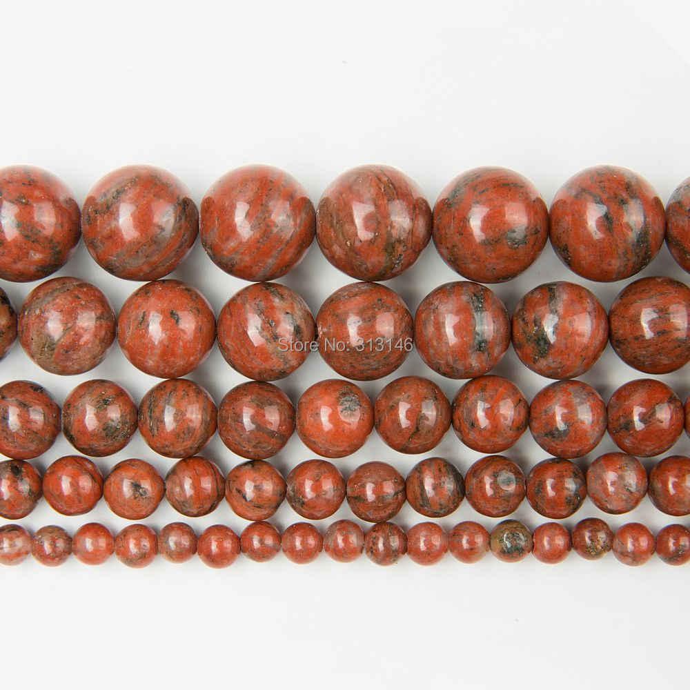 卸売ナチュラルラウンド赤胡麻碧玉ストランドビーズ石 diy ビーズブレスレットネックレスジュエリー 4 6 8 10 12 ミリメートル
